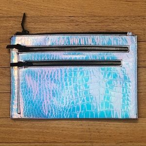 Iridescent faux croc flat clutch French Connection